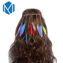 M MISM Colored Bead Feathers Bohemian Feather Headband Festival Women Peacock Rope Indian Hair Accessories Handmade Ethnic Plume(China)