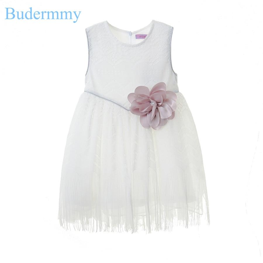 White Wedding Girls Dress Flower Lace Cotton Dress 2017 Summer Fashion Princess 5 6 7 8 10 Years Toddler Children Clothes Dress<br>