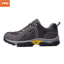 TFO Brand Men Hiking Shoes Outdoor Sneakers Trekking Man Mountain Climbing Grey Brown Genuine Leather Waterproof Sports Shoes