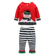 Baby New Year Winter Baby Girls Christmas Snowman Long Sleeve Tops Pants Girl Christmas Costume Outfits Kids Ball Party Wear