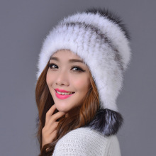New Real Mink Fur Knitted Hat New Korean Style Peaked Cap Winter Warm Fur Hat For Women Female Beanies Hat Free Shipping H#79