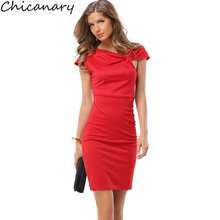 Buy Chicanary Summer Women Elegant Business Casual Solid Slim Sexy Dress Work Evening Party Bodycon Sheath Office Red Pencil Dress for $11.04 in AliExpress store