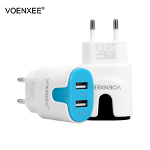VOENXEE 5V2.1A USB Phone Charger Travel Wall Charger Adapter Portable EU US Plug Smart Phone Charger for iPhone Tablet Samsung(China)