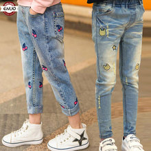 Children's Clothes Girls Autumn Cotton Pants Kids Casual Jeans Leggings For 2T To 14 T Baby Cartoon Hole Trousers Pencil pants(China)