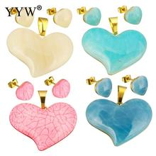 Resin Jewelry Sets pendant & earring Stainless Steel with Resin Heart gold color plated Sold By Set