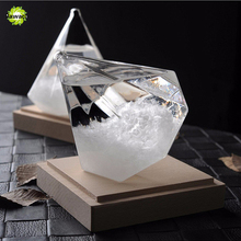 Pawaca Weather Forecast Crystal Bottle Diamond Shape Storm Glass Barometer Creative Ornaments Home Decor Glass Accessories Gifts(China)