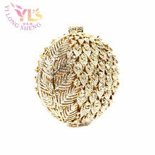 Gold Ball Crystal Clutches Flower Design Small Evening Purses Wedding/Special Occasion Clutch/Evening Handbags Clutches YLS-F92(China)