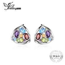 JewelryPalace Fashion 2.1ct Natural Amethyst Citrine Garnet Peridot Blue Topaz Clip Earrings Charm 925 Sterling Silver Jewelry