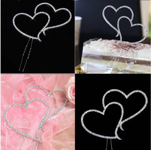 Romantic Crystal Rhinestone Silver Double Heart Cake Topper Wedding Decoration New Year Decor(China)