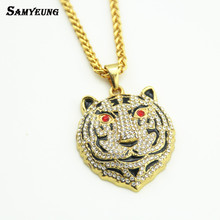 Samyeung Rock Gold Tiger Necklaces Chokers for Women Steampunk Long Link Chain Necklaces Crystal Neckless Woman Jewelry Collier