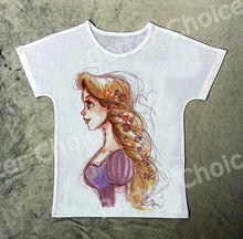 Track Ship+New Hot Fresh Vintage Retro T-shirt Top Tee Cartoon Long Blonde Hair Girl Smile Side Face 1393(Hong Kong)