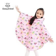 EasyZreal Cloak Hooded Children Raincoat Outdoor Touring Kids Rain Coat Animal Cartoon Boy Girl Rain Gear poncho capa de chuva
