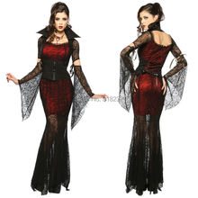 Women's Black Lace Vampire Psychic Dress Uniform Outfit Halloween Party Cosplay Costumes(China)