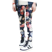 Flower Printed Girl's Pants 2017 New Arrival Fashion Design Pants for children trendy winter pants for girl kids clothing(China)