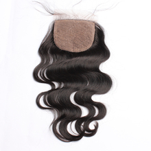 Body Wave Silk Base Lace Closure 4x4 Brazilian Virgin Hair Lace Closure Pre Plucked With Baby Hair Free Part Human Hair CARA(China)