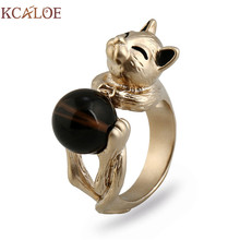 KCALOE Cute Cat Ring New Arrival Brown Round Ball Bead Punk Statement Jewelry Adjustable Size Titanium Gold Women Animal Rings(China)