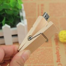 Logo Customize Wooden clip usb flash drive funny pendrives 8gb 32gb memory stick 16gb USB 2.0 usb creativo 100% real capacity