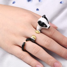 3pcs/set Fashion Cute Spotted dog Rings Ceramic Ring For women Bride wedding Bands Jewelry accessories