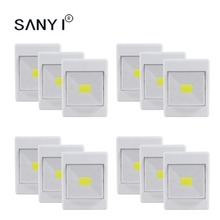 3/6/9/12 Pack 4*AAA Battery Operated Cordless Night Light COB LED Wall Switch Wireless Garage Cabinet Lamp Closet Light(China)