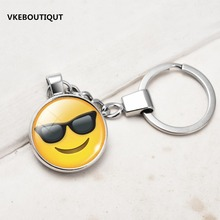 New Hot Fashion Emoji Smiley Face Time Precious Stones Pendant Metal Glass Keychain Jewelry for Women Men Girl Gift(China)