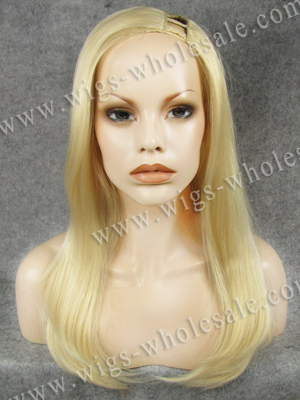 Easy to wear convenient long straight natural blonde bright synthetic U-Part Wig<br><br>Aliexpress