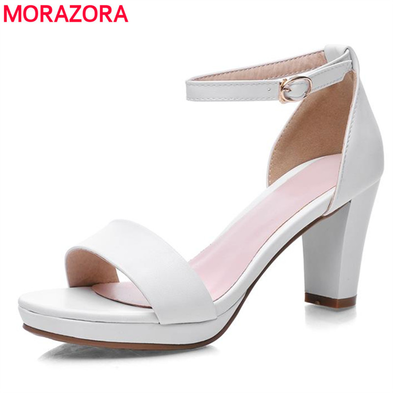 MORAZORA big size 34-43 2017 fashion thick high heels open toe woman sandals high quality pu leather black red shoes woman<br><br>Aliexpress