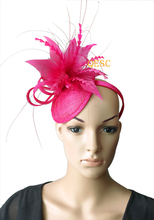NEW 20 colours Hot pink fuchsia sinamay  fascinator hat for Kentucky derby,wedding,party,melbourne cup,ascot races.FREE SHIPPING