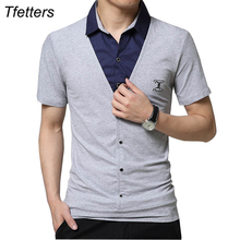 TFETTERS Brand Summer Men T-shirt Cotton Fake Two Design Short Sleeve Cool T shirt Turn Down Collar Plus Size Men's Clothes(China)