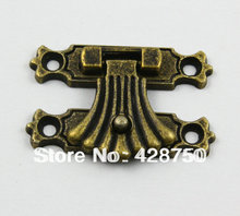 Antique Brass Jewelry Box Hasp Latch Lock 37x27mm with Screws(China)