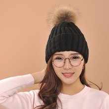 2016 Women Spring Winter Hats Beanies Knitted Cap fox Fur Pompons Ear Protect Casual Cap