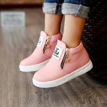 New Winter Warm Children Boots For Girls Fashion PU Leather Kids Shoes Plush Ankle Martin Boot Girl Felt Snow Boots With Zipper