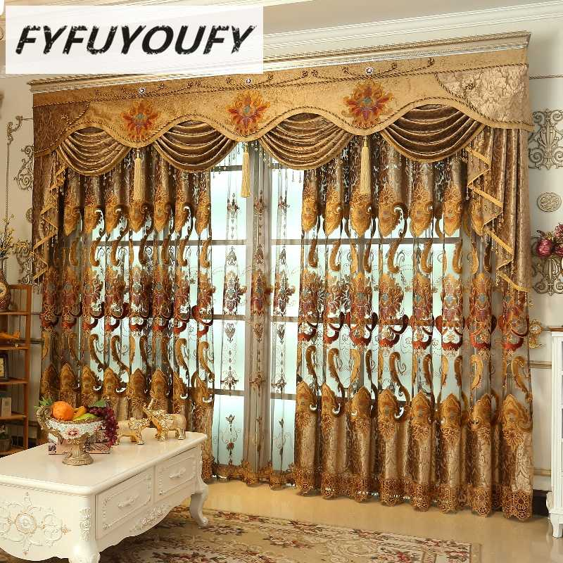 FYFUYOUFY Luxury Blackout Curtains For Living Room Flowers embroidery curtains for bedroom windows fabric blinds tulle curtains