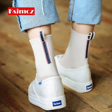 1 Pair KSJMCZ Retro Cotton Socks Followed by Labeling embroidery Socks College Winds Cute Socks