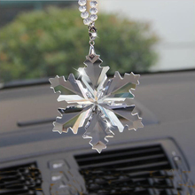 Snowflake Clear Crystals Car Pendant Transparent Crystal LargeChristmas snowflake Charms Ornaments(China)