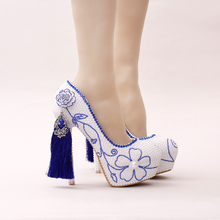 China national style wind blue white porcelain diamond super higher pumps waterproof white high-heeled bride wedding new Pearl(China)