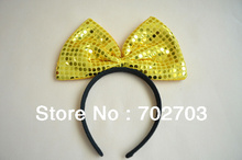 Halloween Party Item Gold Sequin Bow tie Headband/ Fun Costume Party Accessory