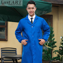 Medical clothing navy blue lab coat new design men lab supplies medical robe long sleeve B020