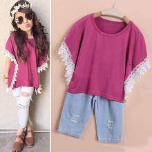 New Fashion Summer Kids Girls Clothing Rose Red Lace Batwing sleeve T Shirt + Ripped Jeans 2 Pcs/Set Suit