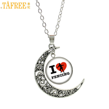 TAFREE novelty exquisite Love Fencing women pendant necklace vintage moon charms  Swordsman jewelry sports style club gifts SP83