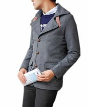 Papijam Men's Slim Fit Pea Coat with Leather Buckle Pea Coat