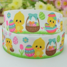 "Free shipping 7/8"" 22mm Easter chick&Eggs Printed grosgrain ribbon,hairbow DIY handmade clothing materials OEM 50yards Y0290"