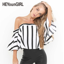 HeyounGirl 2017 Summer Sexy Women Off Shoulder Top Shirt Bow Bandage Party Club Blouses Stripe Black White Shirts Harajuku