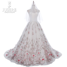Off Shoulder Satin Ruch Corset Sweetheart Shirred Bridal Floral Gown Embroidery Branch Skirt Bride Flower Wedding Dress 2018(China)
