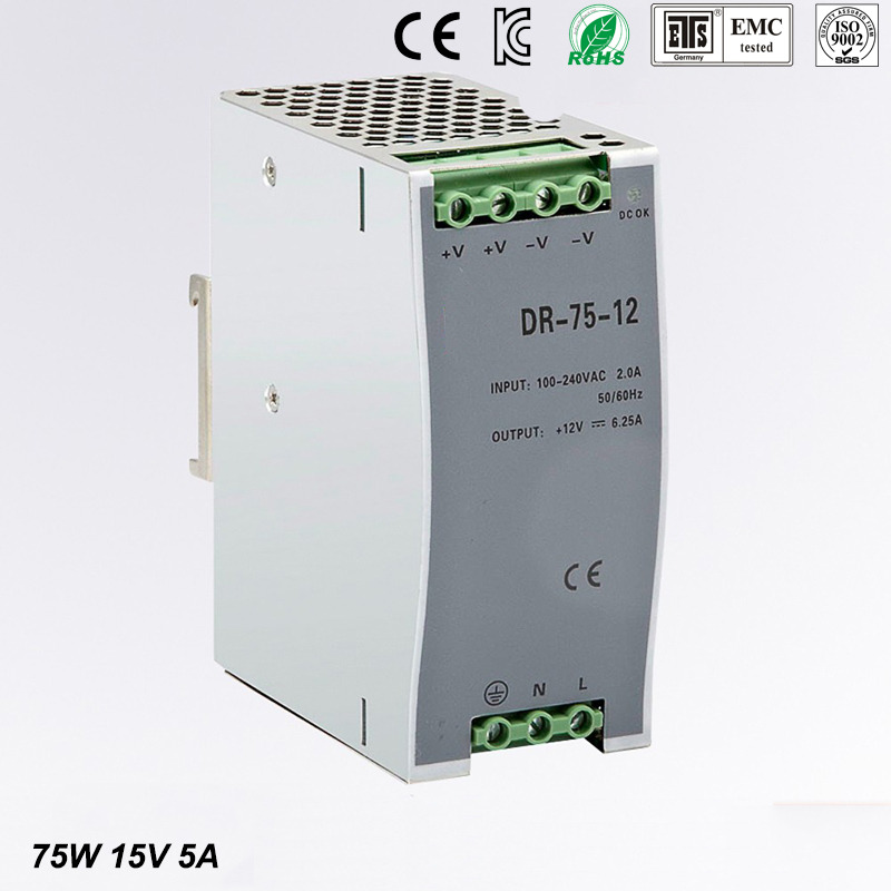 75w 15v 5a din rail model ce approved 75w DR-75-15 power supply rail din 15v with wide range input high quality<br>