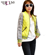 HIJKLNL Women's Winter Down Jacket For Girls Baseball Coats Patchwork Casual Short Down Coats Women Parkas Mujer Invierno HB164