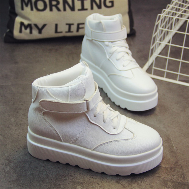 SWYIVY White Sneakers Woman High Platform 2019 Spring New High Top Female Casaul Shoes Hook Loop Student Fashion Sneakers White