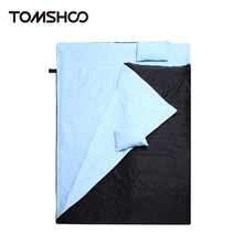 "TOMSHOO 86""x60"" 2 Person Outdoor Sleeping Bag Spring Winter Warm Double Sleeping Bag with 2 Pillows for Traveling Camping Hiking"