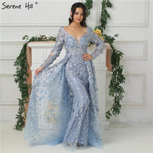 Long Sleeves Mermaid With Cap Evening Dresses New V-Neck Appliques Fashion  Sexy Evening Gowns 491c20a7d429