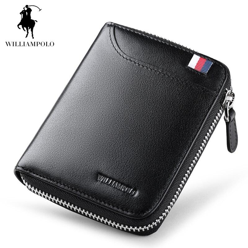 WilliamPOLO 2017 Fashion 100% Leather European and American Style Original Brand Mens Wallet Mini Wallet POLO190<br>