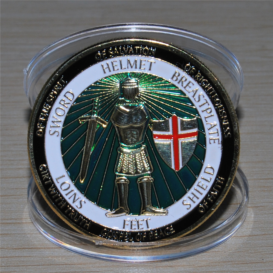Armor of God Defend the Faith - Brass Challenge Coin (5)